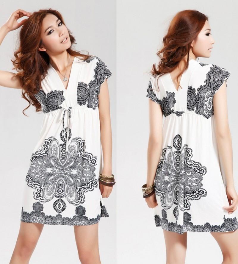 Mini Dress Simple Dress Corak Etnic Putih Import 2753
