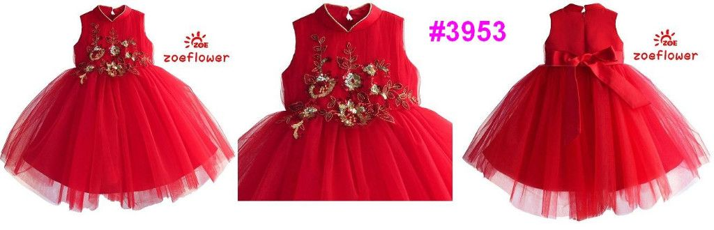 Ready Stock Dress Dress Pesta Anak Tutu Merah Model Qipao Variasi