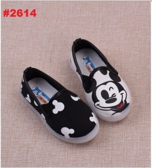 SEPATU ANAK SLIP ON LIGHTING  MICKEY HITAM (21-25)(RSBY-2614)